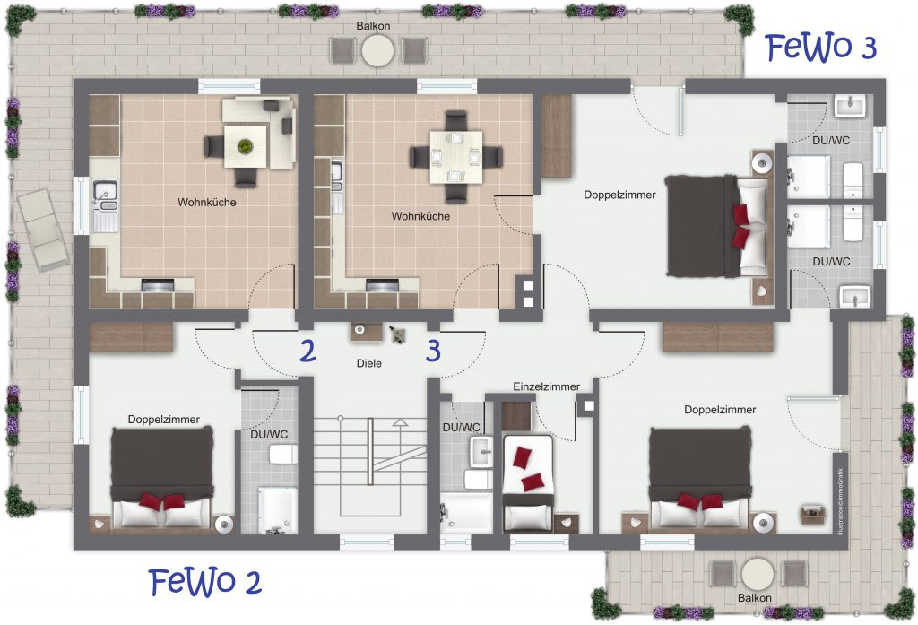 Grundriss FeWo 2 und 3 - Gästehaus Friedlich in Schönau am Königssee